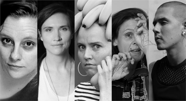 banner image with multiple black and white images of artists speaking on the panel