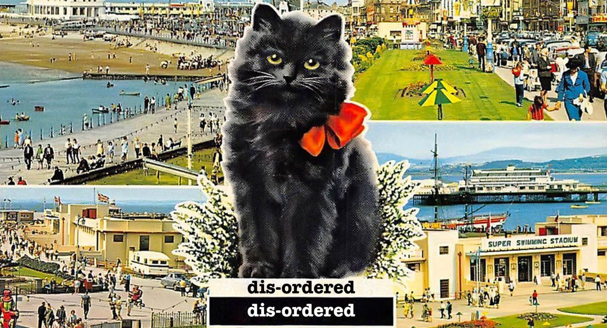image of a black kitten with red kneck tie sitting on the words disordered, against an english tourist postcard setting of multiple tourist locations